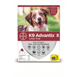 K9 Advantix II Red  Dogs 21 - 55 pounds - 4 pack
