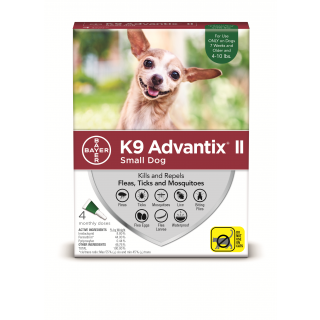 K9 Advantix II Green - Dogs 10 pounds and under - 4 pack