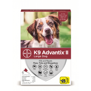 K9 Advantix II Red  Dogs 21 - 55 pounds - 6 pack