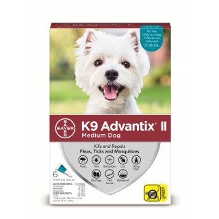 K9 Advantix II Teal  Dogs 11 - 20 pounds - 6 pack