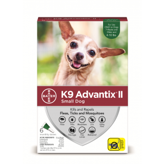 K9 Advantix II Green  Dogs 10 pounds and under - 6 pack
