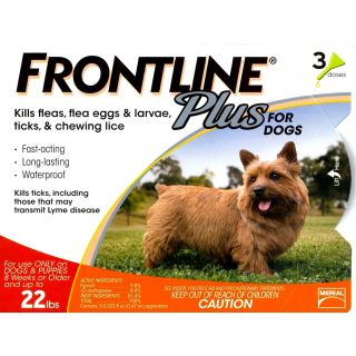 Frontline Plus for Dogs - up to 22 lbs - 3 pack