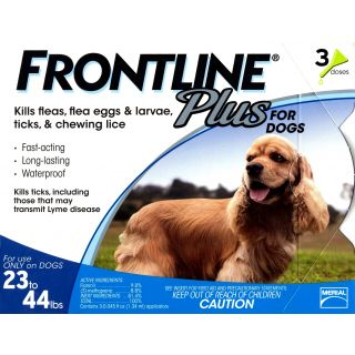 Frontline Plus for Dogs - 23 - 44 pounds - 3 pack
