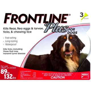 Frontline Plus for Dogs - 89 - 132 pounds - 3 pack