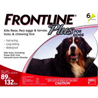 Frontline Plus for Dogs - 89 - 132 pounds - 6 pack